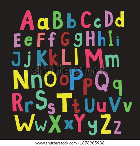 English alphabet with uppercase and lowercase. Handwritten creative font, lettering .Vector Photo stock ©