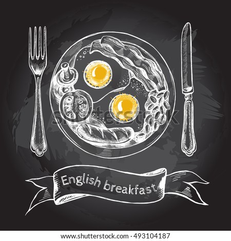 english breakfast with fried
