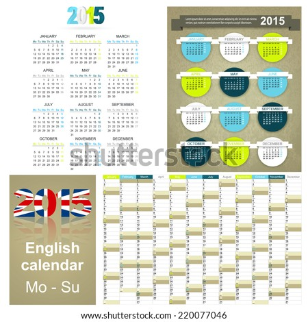 English calendar for year 2015 week starts on Monday
