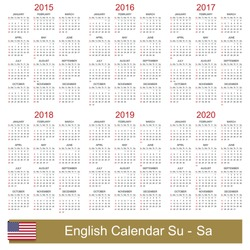 English calendar for years 2015-2020, week starts on Sunday