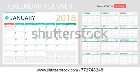 english calendar planner for year 2018 week start on sunday set of 12 months