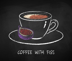 English coffee with figs cup isolated on black chalkboard background. Vector chalk drawn sideview grunge illustration.