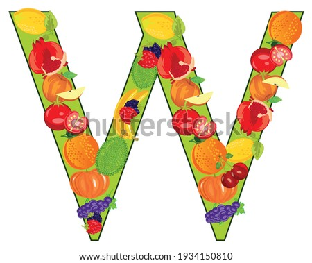English decorative letter W from fruit and vegetables Zdjęcia stock ©