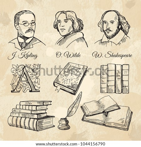 English famous writers and different books. Face of english writer shakespeare and wilde. Vector illustration