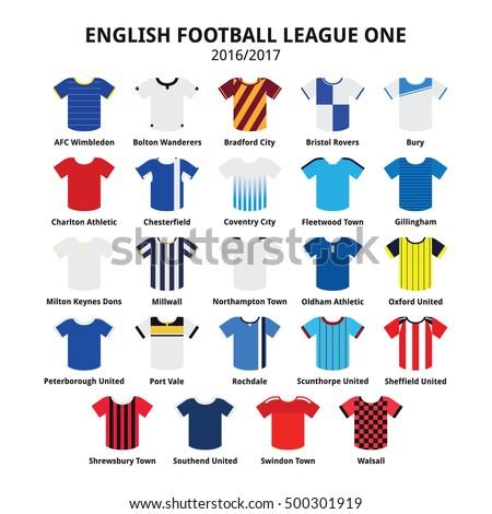 9d84a1a04e5 English Football League One jerseys 2016 - 2017 vector icons set #500301919