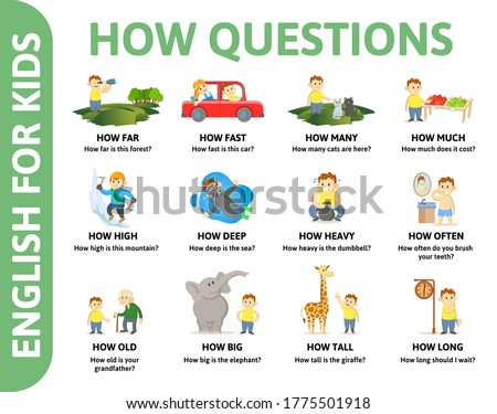 English for kids poster. HOW questions with different chartoon characters. Dictionary card for English language learning. Colorful flat vector illustration. ストックフォト ©
