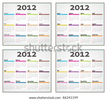 English, french spanish and german calendar for 2012