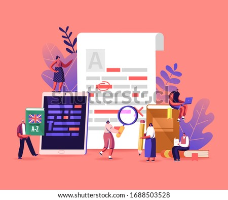 English Grammar, Examination. Tiny Characters Correct Mistakes and Errors in Paper and Digital Test. Fail Exam Results, Incorrect Answers, Red Underlined Errors. Cartoon People Vector Illustration Stock photo ©