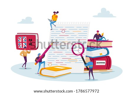 English Grammar Examination. Tiny Characters Correct Mistakes and Errors on Test Written on Huge Paper. Fail Exam Results, Incorrect Answers, Red Underlined Errors. Cartoon People Vector Illustration