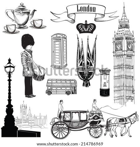 English icon set. London symbols, England, UK, Europe. Hand drawing vintage illustration over white  background.