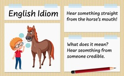 English idiom hear something straight from the horse's mouth template illustration