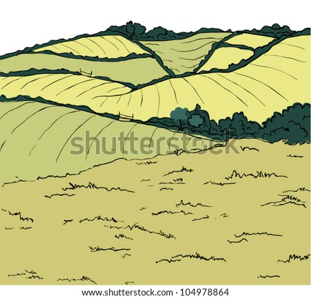 english landscape illustration