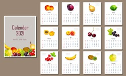 English-language calendar for 2021 with polygonal fruits and berries