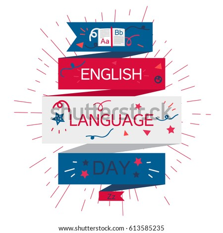 English Language Day Banner With Book and Letters A, B, Z. Vector