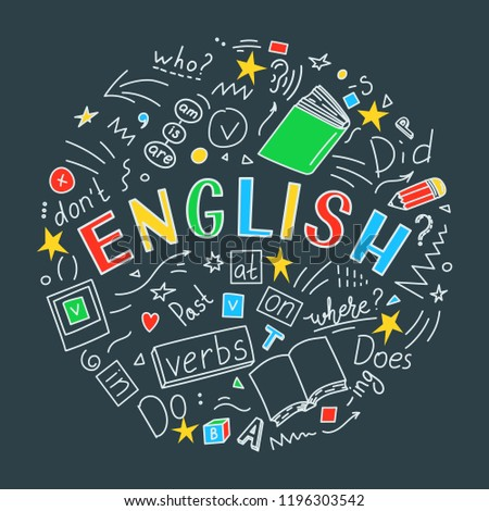 English. Language hand drawn doodles and lettering. Education vector illustration.