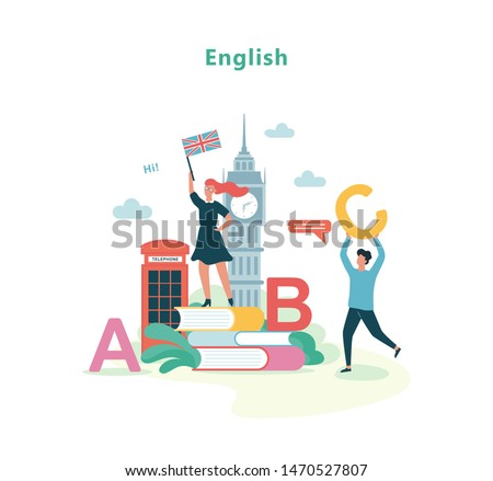English language lesson in school. Idea of education and knowledge. Foreign language class. Isolated vector illustration in flat style ストックフォト ©