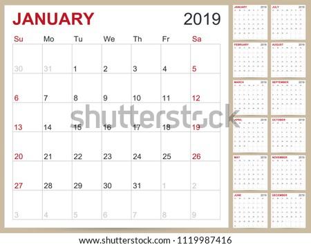 Abstract 2019 Printable Calendar Download Free Vector Art Stock