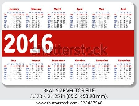 English pocket calendar for 2016 standard size iso 7810 id 1 vector