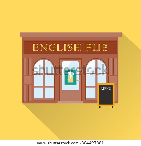 English pub bar icon with long shadow, vector illustration