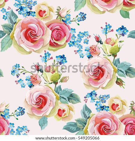english roses seamless pattern