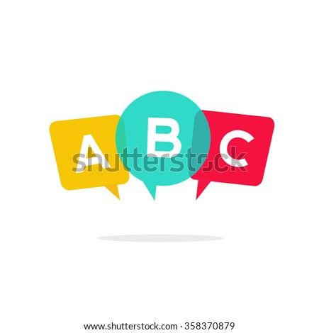 English school badge vector logo, language learning emblem icon with bubble speeches and a b c letters inside, symbol of speaking club translation education modern simple flat design isolated on white