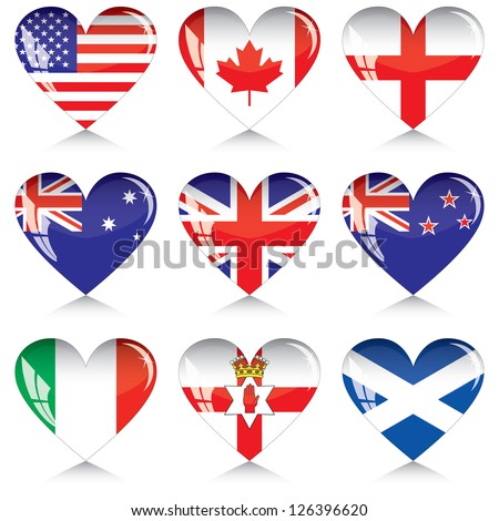 English-speaking countries' flags buttons in a shape of heart. Each one on a separate layer.