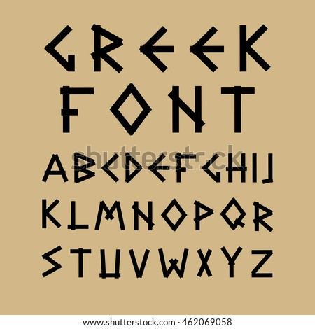 English vector alphabet in ancient style.