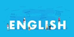 English word for education with icons flat design. Vector polyglot typographical wordcloud with mutiple words pertaining to language, study, dialogue and translation, in different sized fonts