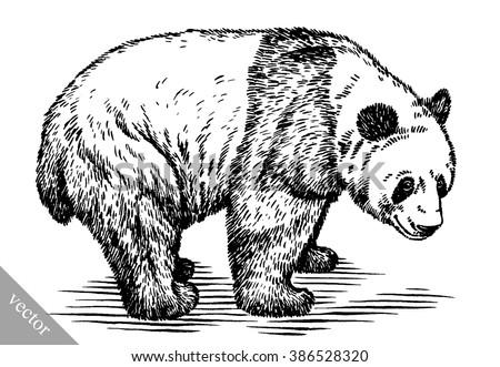 engrave ink draw panda