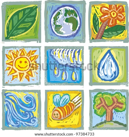 Engrave symbols about nature in full color. Set of nine different ones