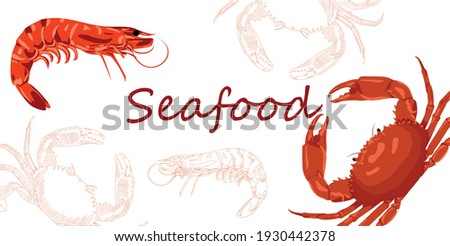 Engraved and cartoon style vintage template. Seafood restaurant menu, flyer, business card promotion. Hand drawn seafood horizontal banner template. Seafood sketches in horizontal composition. Vector