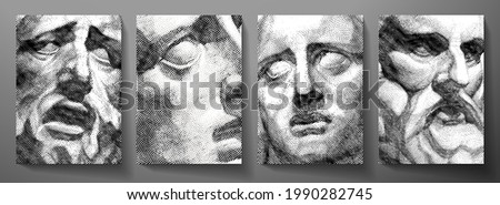 Engraved antique face - poster. Vector line pattern (guilloche) of ancient Greek portrait (closeup man head). Digital graphic for cover, historic artwork, currency, money design, ancient picture