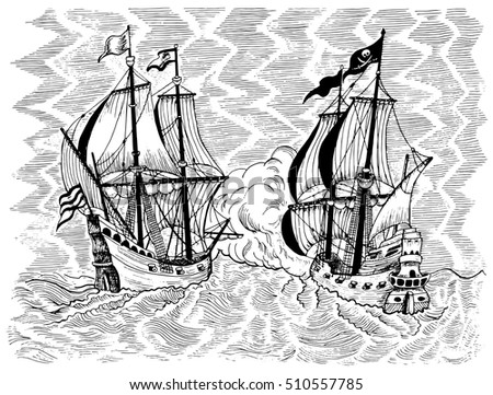 Engraved marine illustration with sea battle of pirate ship and trade vessel. Black and white graphic drawing. Pirate adventures, treasure hunt and old transportation concept.