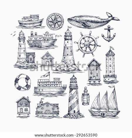 Engraved nautical elements. Sea theme. Vector illustration