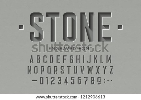 Engraved on stone font, alphabet letters and numbers vector illustration