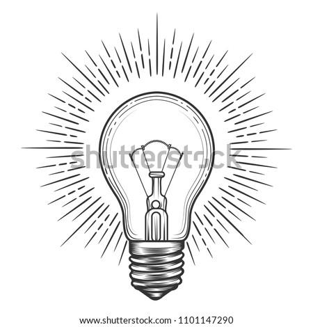 Engraving light bulb. Vintage engraved light for idea or illumination concepts vector illustration