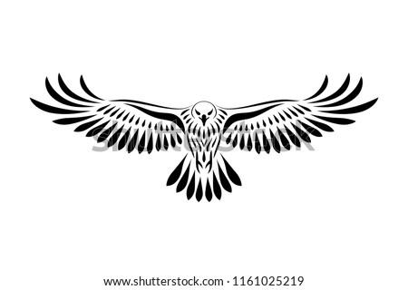 Engraving of stylized hawk. Linear drawing. Decorative bird. Сток-фото ©