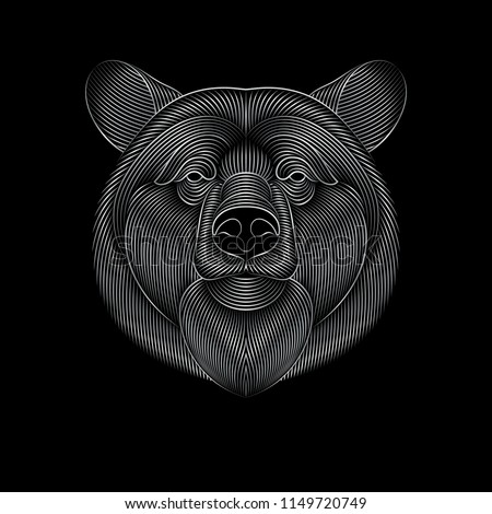 Engraving of stylized silver bear on black background. Linear drawing.