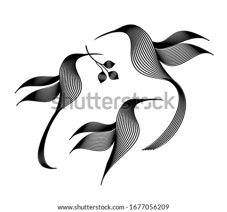 engraving of three birds on a