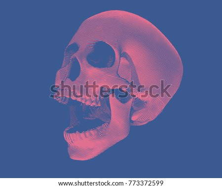 engraving red skull