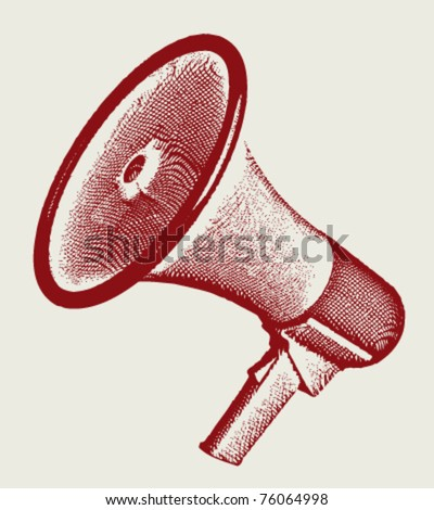 Engraving retro megaphone vectror illustration. Eps 10.