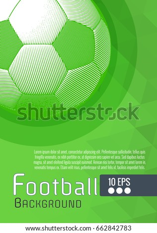 Engraving soccer ball illustration with white and green triangular graphic layout background
