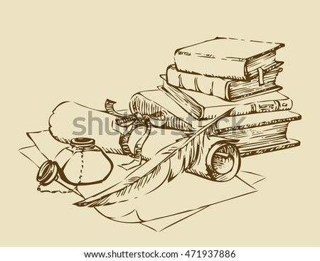 Engraving stack paperback still life with inkpot, candlestick, isolated on white backdrop. Freehand outline hand drawn picture sketch in artistic retro style pencil on parchment with space for text