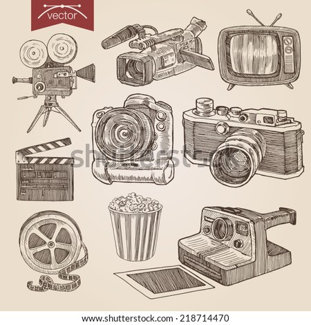 Engraving style pen pencil crosshatch hatching paper painting retro vintage vector lineart illustration photo video cinema equipment set camera camcorder tv film clapper popcorn basket professional.