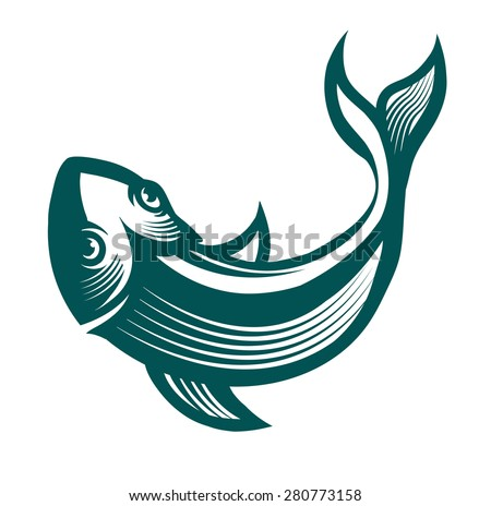 engraving stylized fish ready