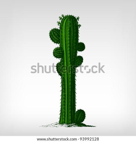 engraving vintage cactus plant...