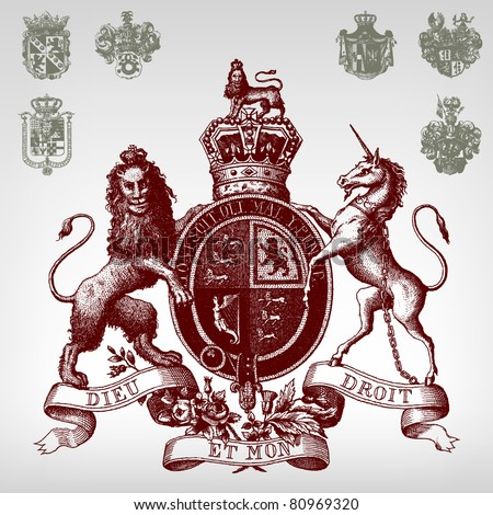 Engraving vintage coat of arms set from