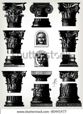 "Engraving vintage column set from ""The Complete encyclopedia of illustrations"" containing the original illustrations of The iconographic encyclopedia of science, literature and art, 1851. Vector."