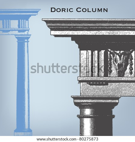 "Engraving vintage doric column from ""The Complete encyclopedia of illustrations"" containing the original illustrations of The iconographic encyclopedia of science, literature and art, 1851. Vector."