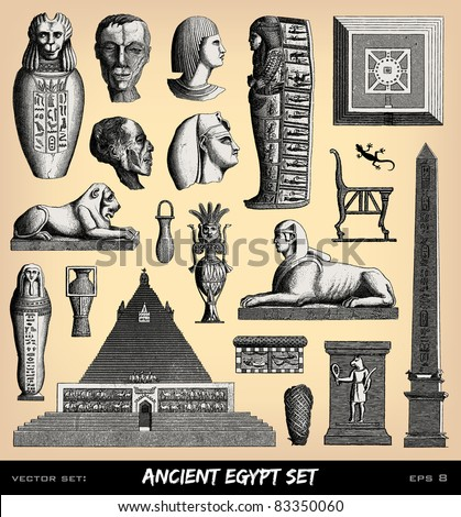 """Engraving vintage funeral Egypt set from """"The Complete encyclopedia of illustrations"""" containing the original illustrations of The iconographic encyclopedia of science, literature and art, 1851."""